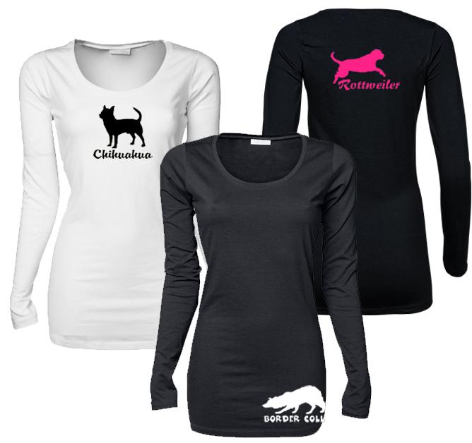 Naisten extrapitkä pitkähihainen T-paita rotuprofiilikuvalla ... d11577b104