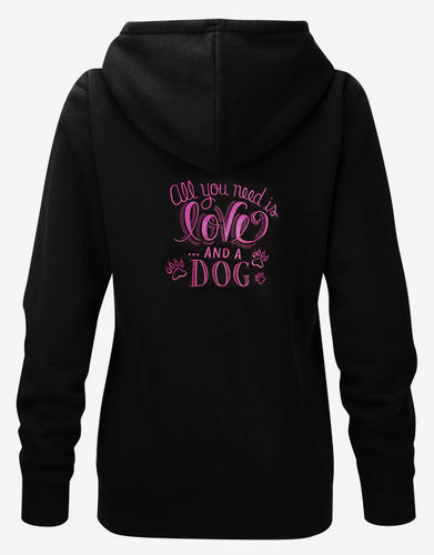 "Naisten Authentic vetoketjuhuppari ""All you need is.. dog"